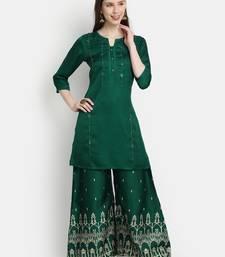 Women's  Bottle Green Linen Silk Embroidered & Printed Straight Kurta Palazzo Set