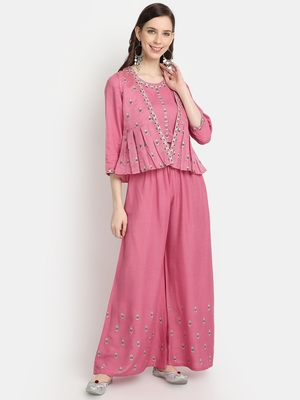 Women's Peach Chanderi & Rayon Embroidered Regular Top Palazzo & Jacket Set