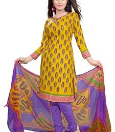 Buy Dark Yellow and multicolor printed Crepe unstitched salwar with dupatta fashion-deal online