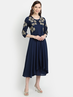 Women's Navy Blue Rayon Slub Embroidered Double Layer Dress