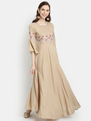Women's Beige Rayon Slub Embroidered Anarkali Dress