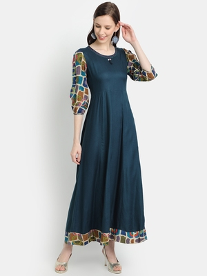 Women's Teal Blue Rayon Printed Anarkali Dress