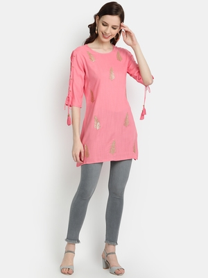 Women's Peach Rayon Slub Embroidered Straight Tunic Short Kurti