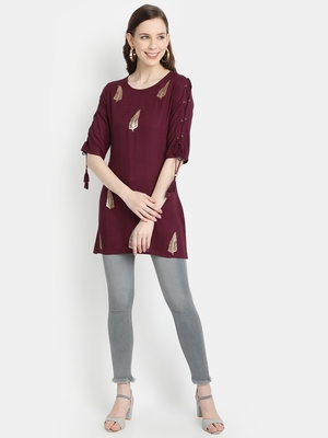 Women's Wine Rayon Slub Embroidered Straight Tunic Short Kurti