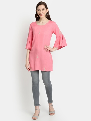 Women's Peach Rayon Slub Embroidered Straight Tunic Short Kurti
