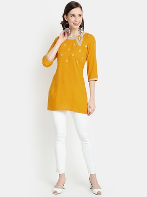 Women's Mustard Rayon Slub Embroidered Straight Tunic Short Kurti
