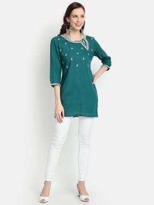 Women's Green Rayon Slub Embroidered Straight Tunic Short Kurti