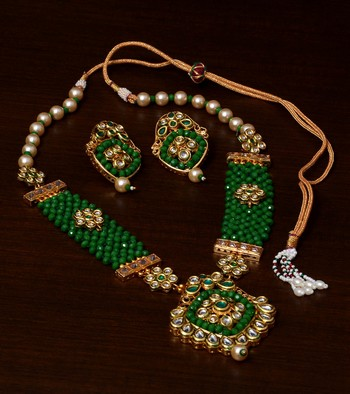 Kundan, Pearls and Green Beads Embellished Designer Necklace Set 317FNN184