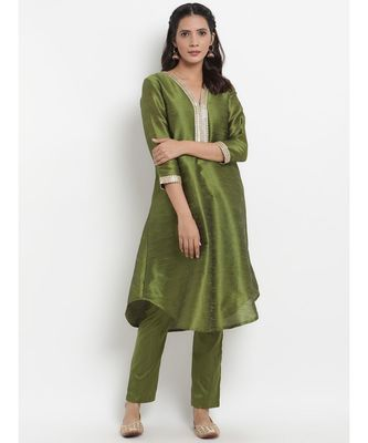 Green Silk Blend Flared Gota Kurta Pant Set