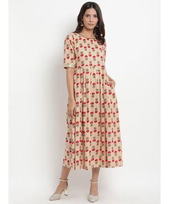 Beige Floral Printed Tassel Flared Dress