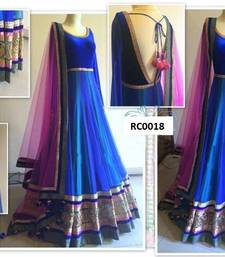 Buy blue embroidered velvet semi stitched gown party-wear-gown online