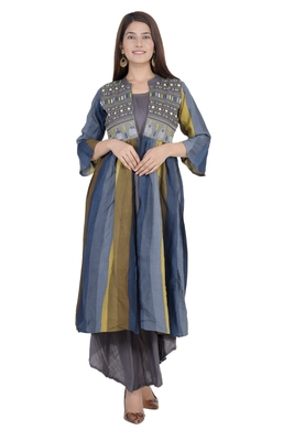 Grey embroidered rayon diwali-kurtis