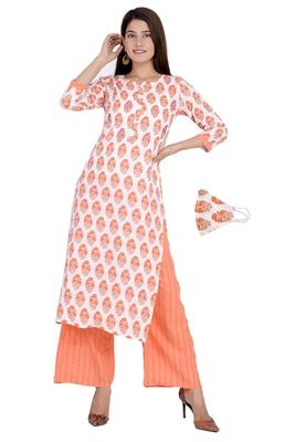 Orange printed rayon diwali-kurtis