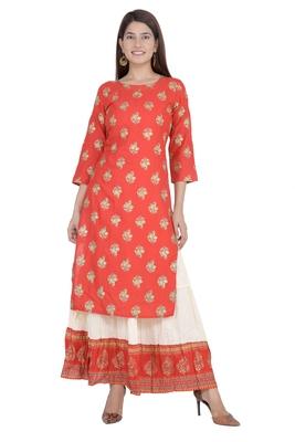 Red embroidered rayon diwali-kurtis