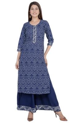 Blue printed rayon diwali-kurtis
