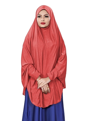 Peach JSDC Stitched Hosiery Lycra Chaderi Hijab with Veil and Sleeves