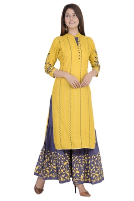 Yellow printed rayon diwali-kurtis