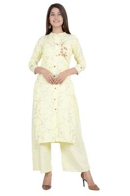 Yellow embroidered rayon diwali-kurtis