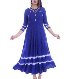 WOMEN LONG GWON GOTTA PATTI WORK RAYON LONG-KURTA KURTIS ANARKALI SUITS BLUE