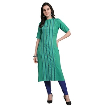 Green woven rayon kurtas-and-kurtis