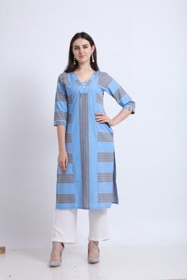 Blue woven liva kurtas-and-kurtis