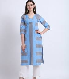 Blue woven liva kurtas-and-kurtis