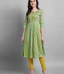 Green plain cotton silk kurtas-and-kurtis