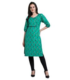 Green woven liva kurtas-and-kurtis