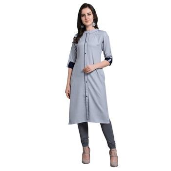 Blue woven rayon kurtas-and-kurtis