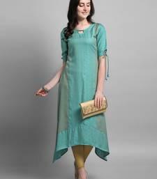 Turquoise woven rayon kurtas-and-kurtis