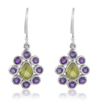 Multicolor peridot  925-sterling-silver-earrings