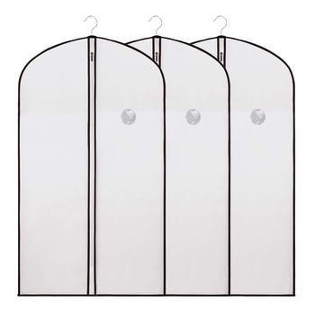 Shree Shyam Product Set of 3 Pcs Cream Dust & Moisture Proof Folding Garment Coat Suit Bag Cover (60 X 140cm)