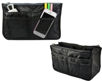 Black Set of 1 Pc Black Nylon Bag Organizer, Polyester Bag Organizer, Handbag Organizer