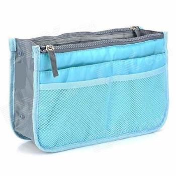 Shree Shyam Product Set of 1 Pc Light Blue Nylon Bag Organizer, Polyester Bag Organizer, Handbag Organizer