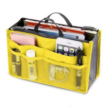 Shree Shyam Product Set of 1 Pc Yellow Nylon Bag Organizer, Polyester Bag Organizer, Handbag Organizer