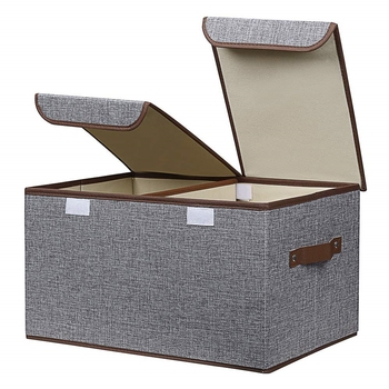 Shree Shyam Product Set of 1 Pc Grey Storage Box Linen Fabric Foldable Basket Cube Organizer Bin Box