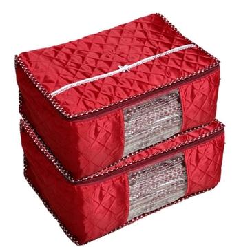 Shree Shyam Products Maroon Box Saree Cover, 2 Pcs Set, Layered Quilted Maroon (10-15 Sarees Capacity)