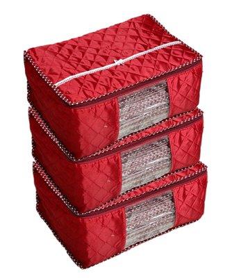 Maroon Box Saree Cover, 3 Pcs Set, Layered Quilted Maroon (10-15 Sarees Capacity)
