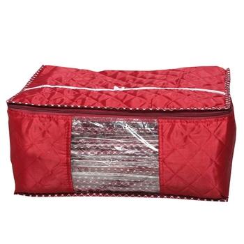 Shree Shyam Products Maroon Box Saree Cover, 6 Pcs Set, Layered Quilted Maroon Saree Cover (10-15 Sarees Capacity)