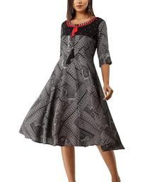 18 FOREVER V R FOR U Women's Rayon Flaired Dress Black Anarkali Suits Kurta Kurtis