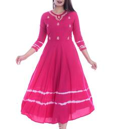 WOMEN LONG GWON GOTTA PATTI WORK RAYON LONG-KURTA KURTIS ANARKALI SUITS