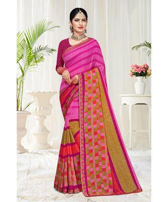 pink printed chiffon saree with blouse