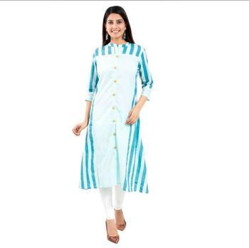 18 FOREVER V R FOR U Women Printed Cotton Blend Straight Kurta Green