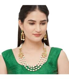 White Bead And Kundan  Necklace Sets