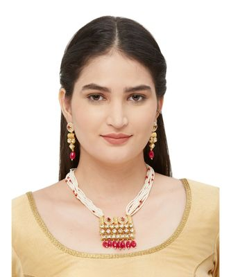 Red Polki Necklace Sets