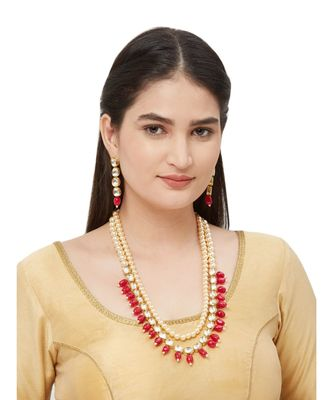 Kundan Necklace With Cream Moti Long Necklace Set