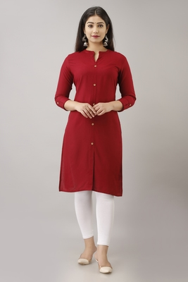 Woman's Soild Color Kurti Kurta for Office and Casual Wear Maroon