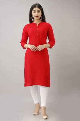 Woman's Soild Color Kurti Kurta for Office and Casual Wear Red