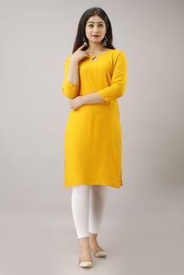 18 FOREVER V R FOR U Women Solid Straight Rayon Kurta and Kurti Yellow