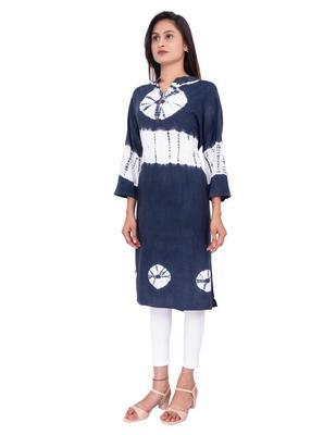 18 FOREVER V R FOR U Women's Rayon Regular Kurta Navy Blue